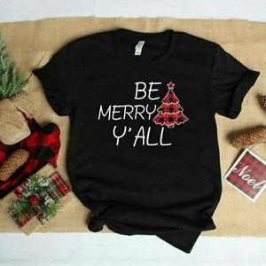 Christmas Shirt- Be Merry Y'all Buffalo Plaid Tee